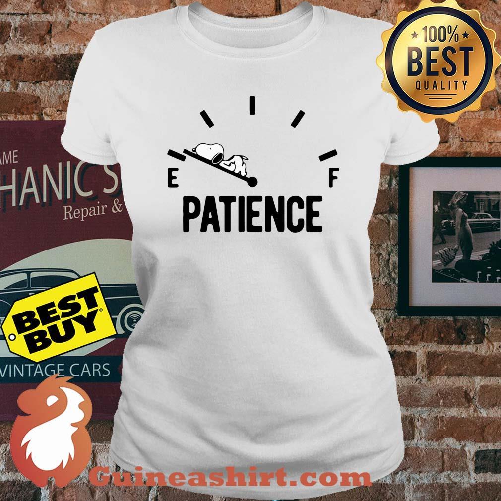 Patience Running Low Fuel Gauge Snoopy ladies tee
