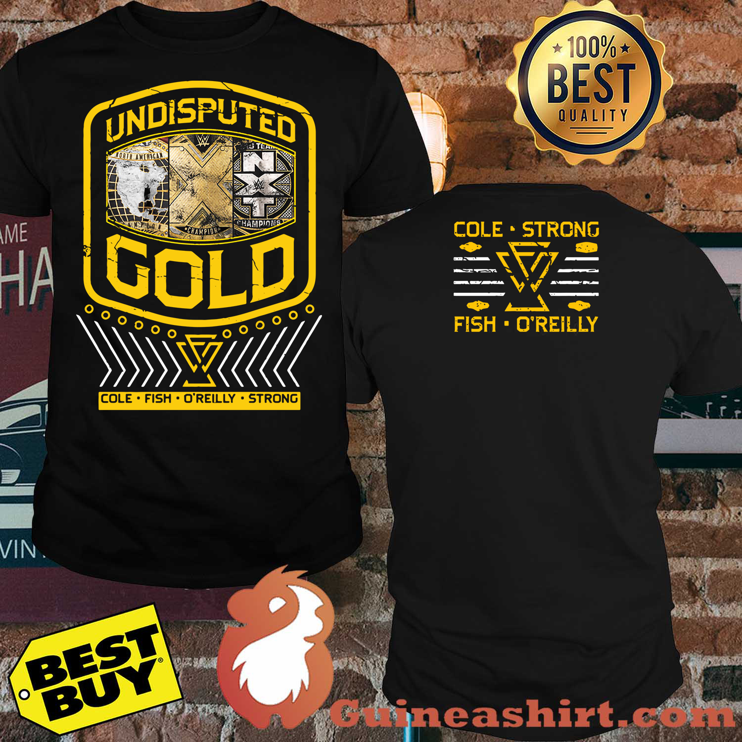 "Undisputed Era ""Undisputed Gold"" Cole strong fish o'reilly Youth Authentic Shirt"
