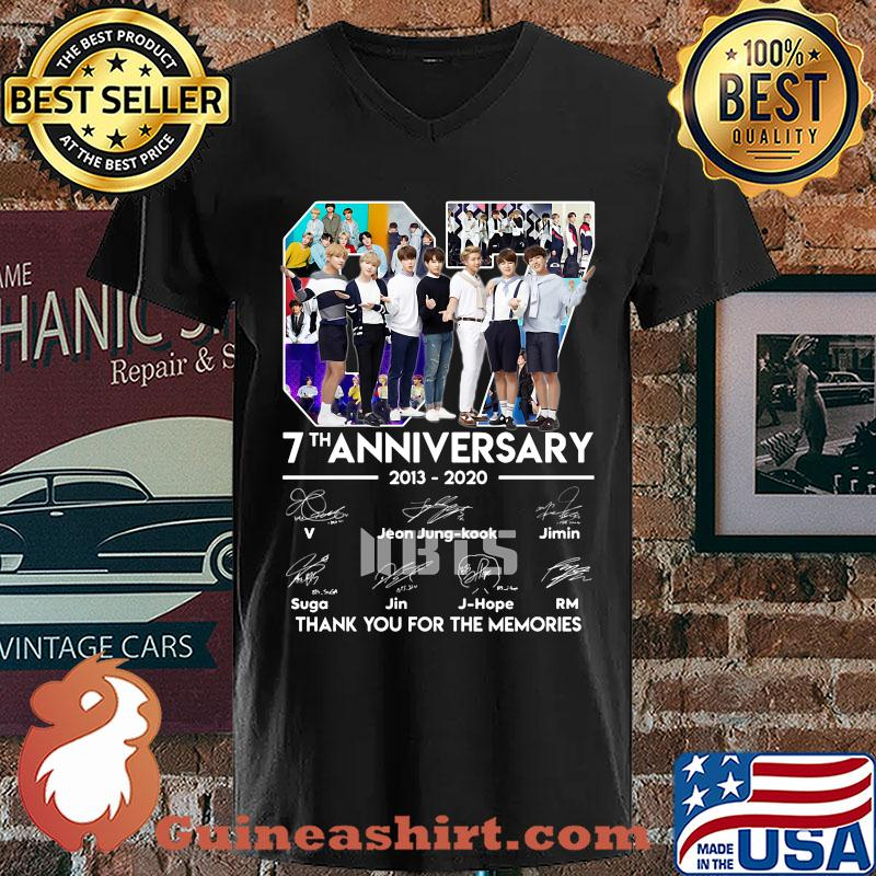 07 7th anniversary 2013-2020 BTS signatures thank you for the memories s V-neck