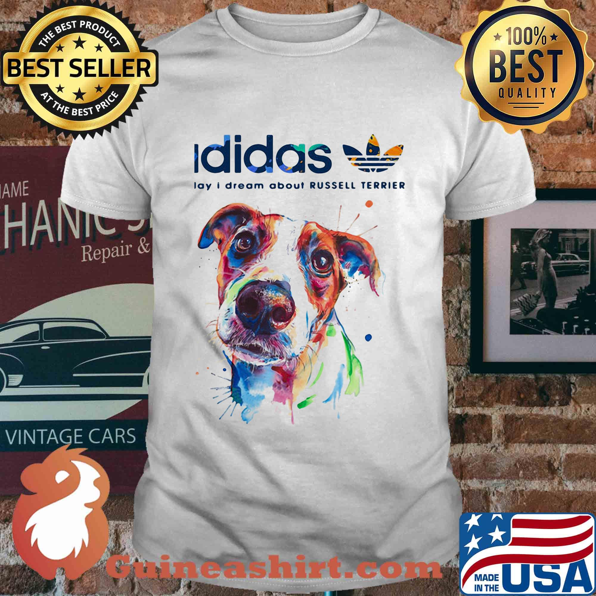 Adidas all day I dream about Russell Terrier dog shirt