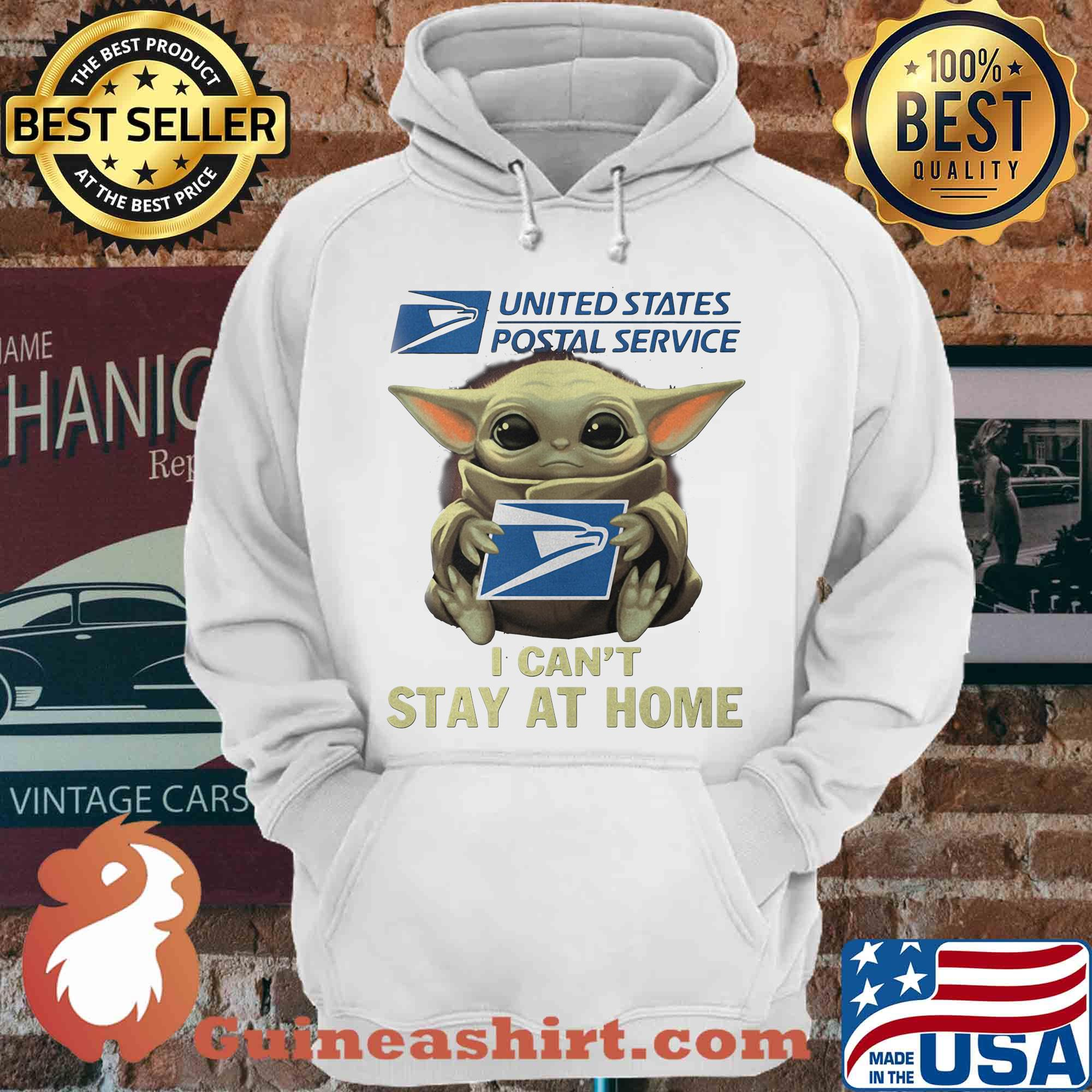 Baby yoda hug united state postal service I can't stay at home s Hoodie