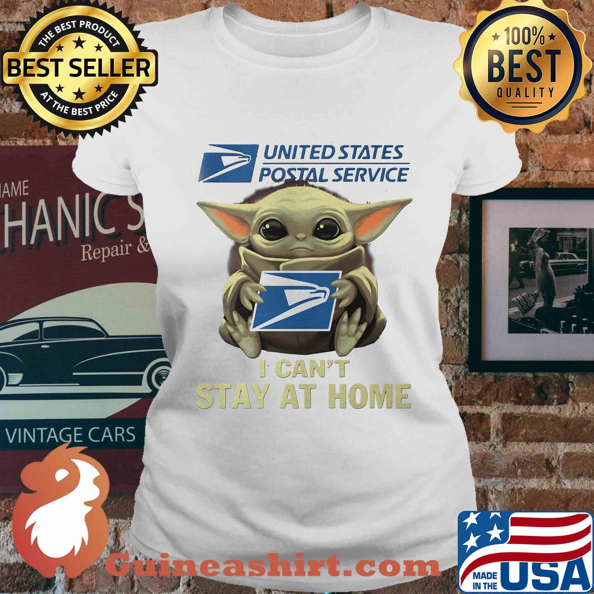 Baby yoda hug united state postal service I can't stay at home s Ladies tee