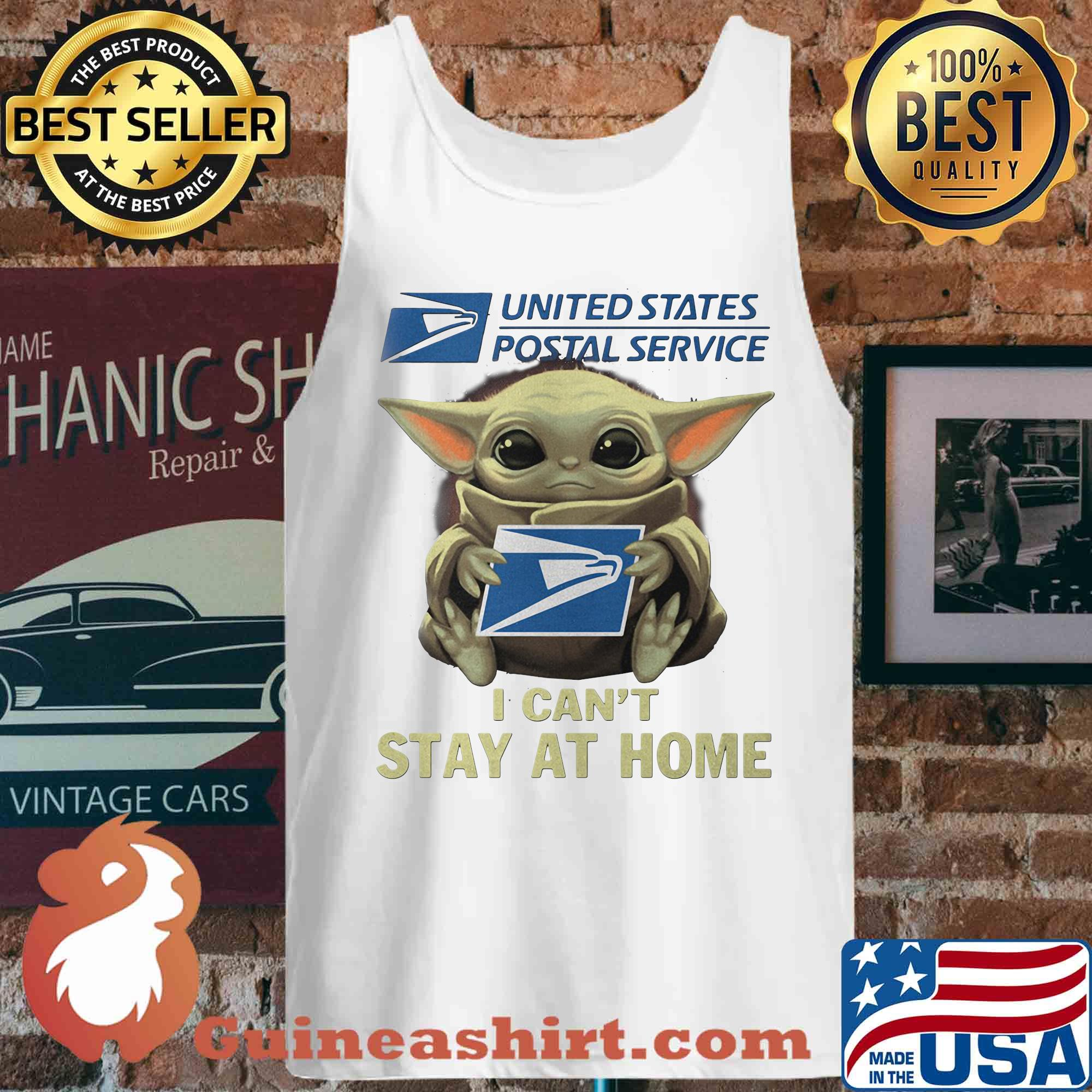 Baby yoda hug united state postal service I can't stay at home s Tank top