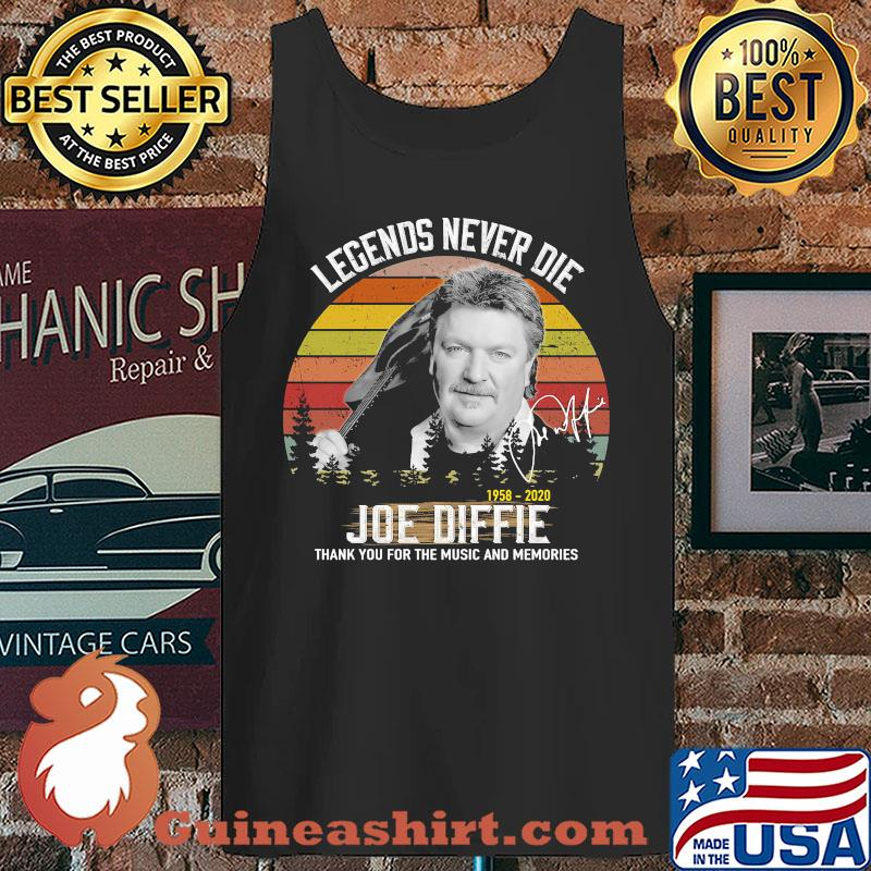 Legends Never Die 1958 2020 Joe Diffie Thank You For The Music And Memories Vintage Signature s Tank top