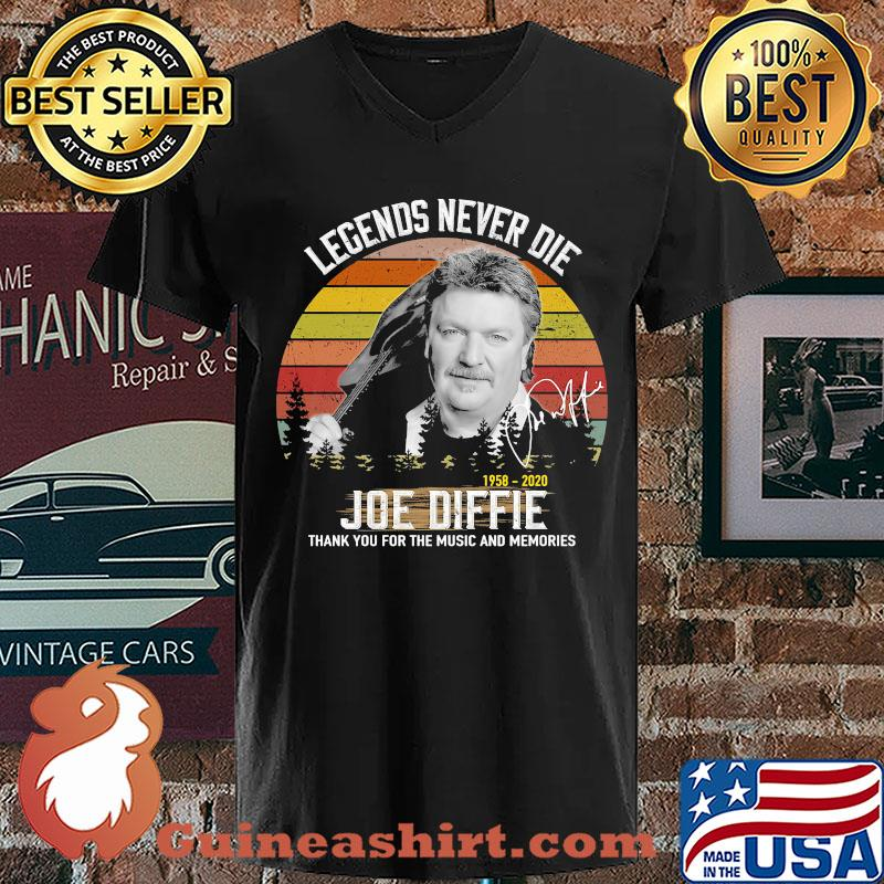 Legends Never Die 1958 2020 Joe Diffie Thank You For The Music And Memories Vintage Signature s V-neck