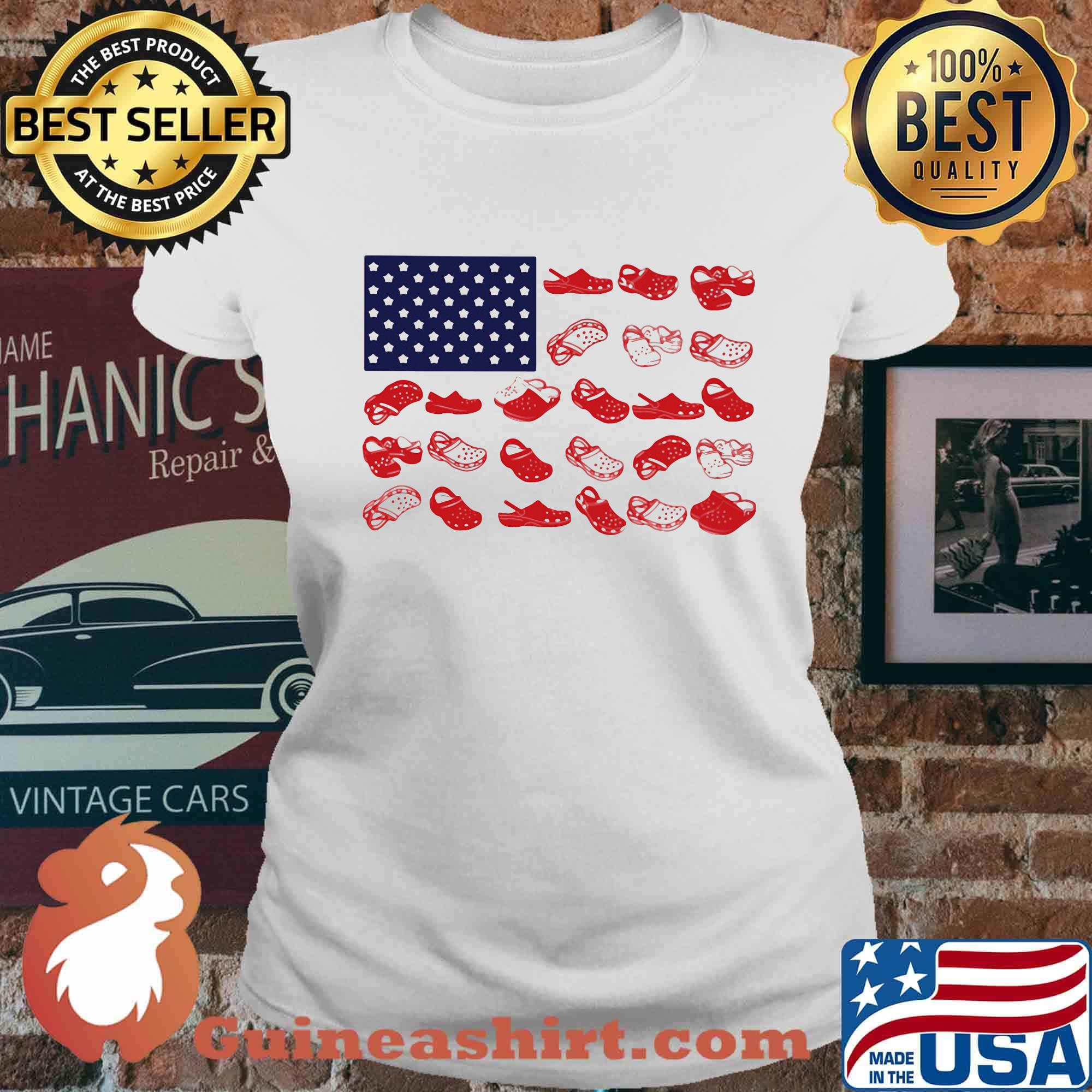 Crocs american flag independence day s Ladies tee