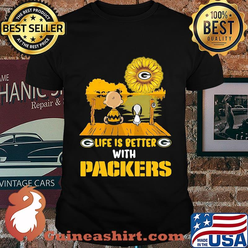 Life is better with Packers Sunflower snoopy and charlie brown shirt