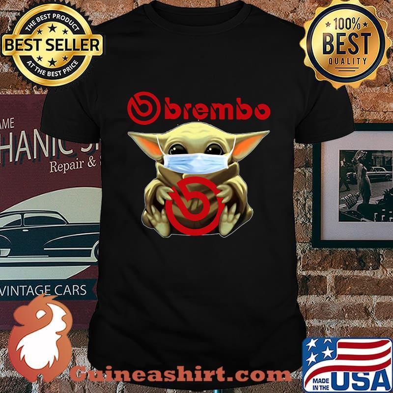 Baby yoda mask hug brembo logo shirt