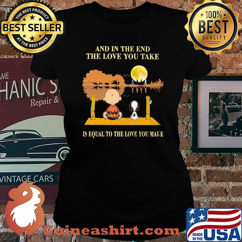 Charlie brown and snoopy the beatles and in the end the love you take is equal to the love you make s Laides tee