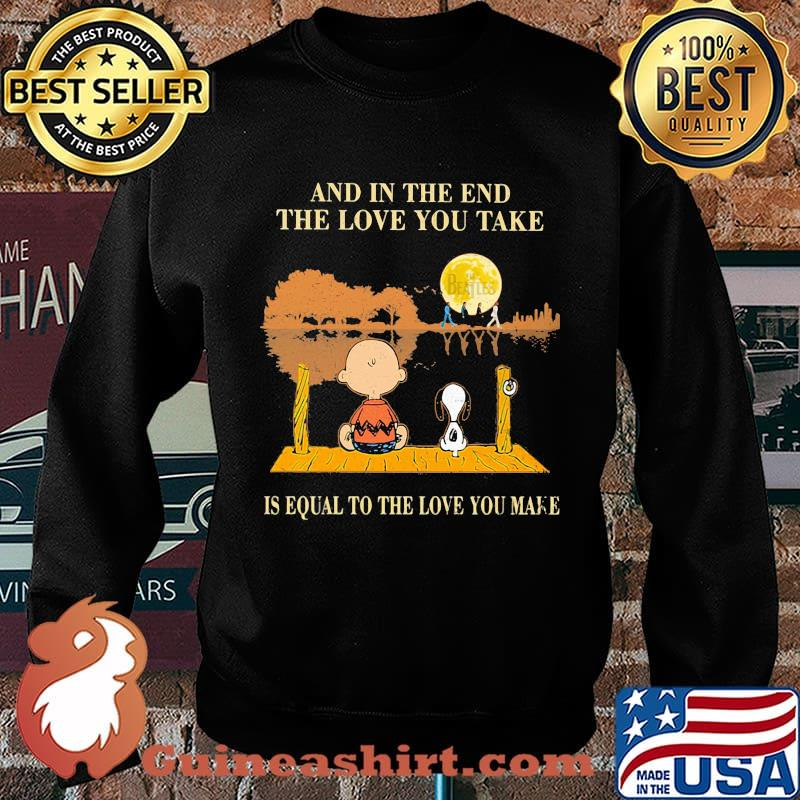 Charlie brown and snoopy the beatles and in the end the love you take is equal to the love you make s Sweater