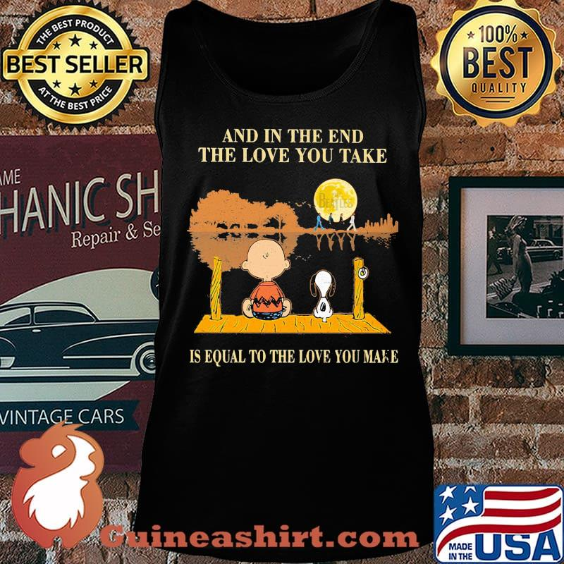 Charlie brown and snoopy the beatles and in the end the love you take is equal to the love you make s Tank top