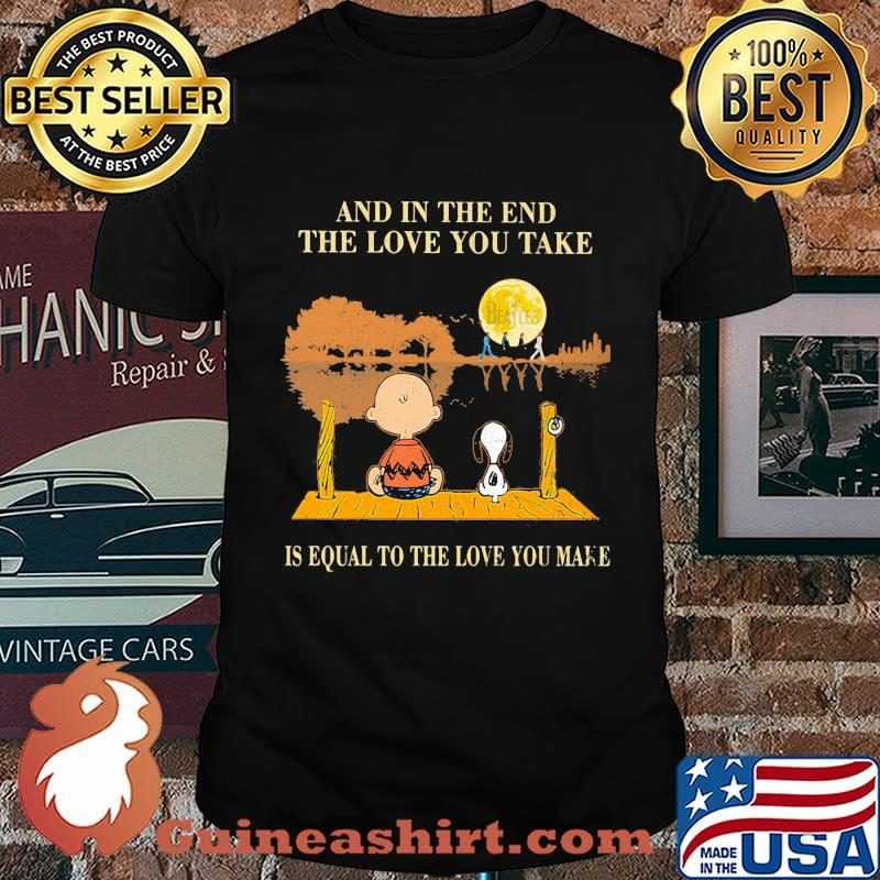 Charlie brown and snoopy the beatles and in the end the love you take is equal to the love you make shirt