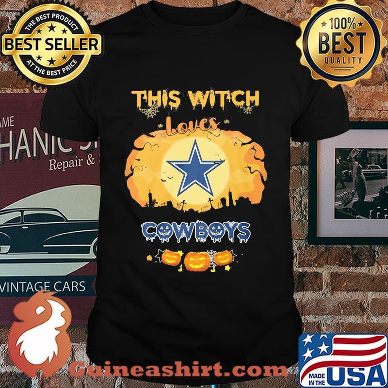 Halloween this bitch loves dallas cowboys pumpkins shirt