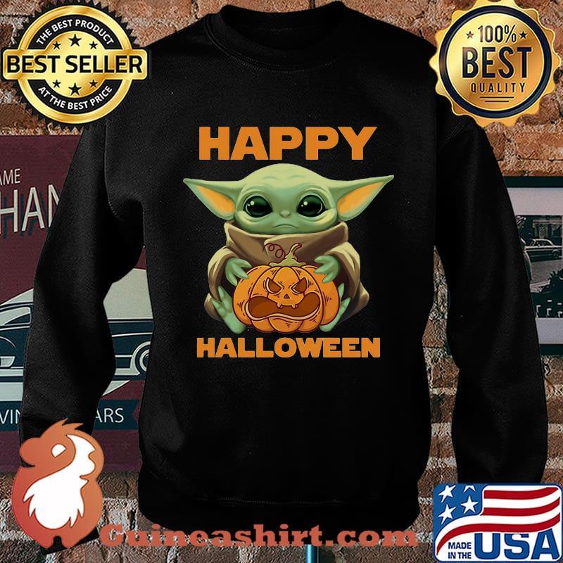 Happy Halloween Baby Yoda Hug Pumpkin Shirt Guineashirt