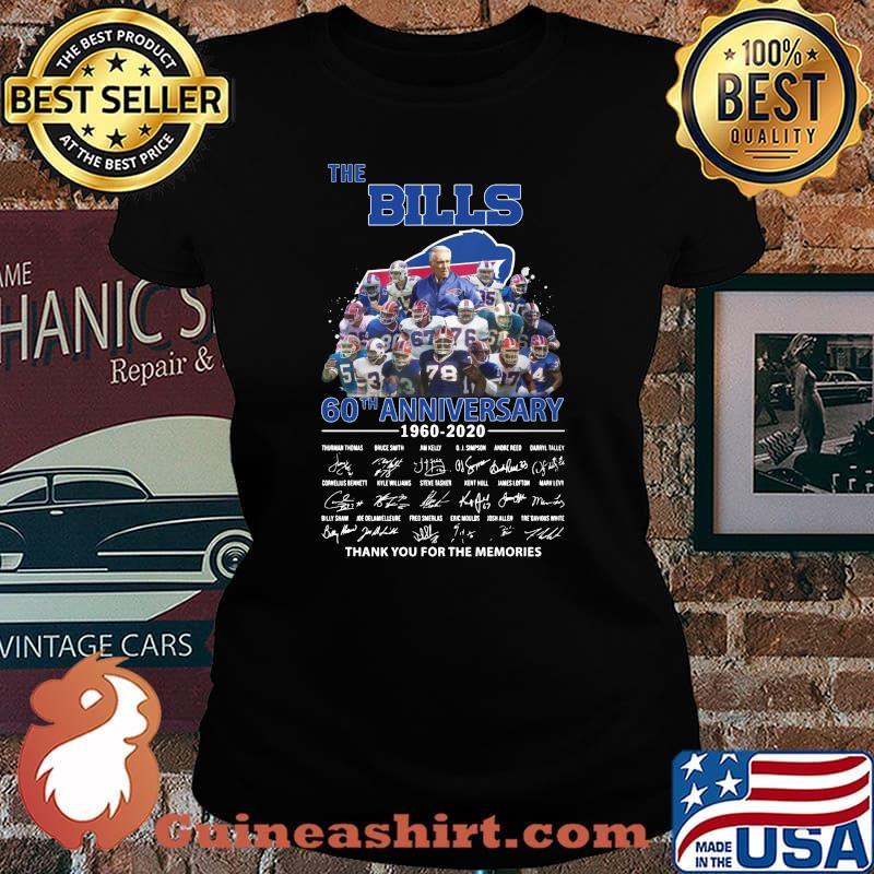The buffalo bills 60th anniversary 1960 2020 thank you for the memories signatures s Laides tee