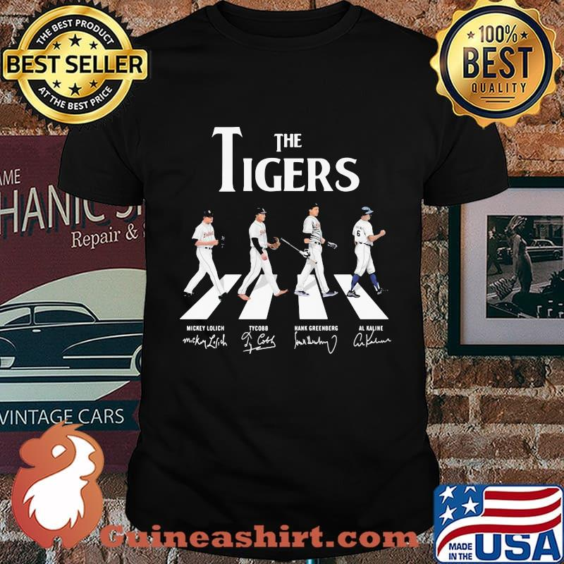 The detroit tigers baseball crossing the line signatures shirt