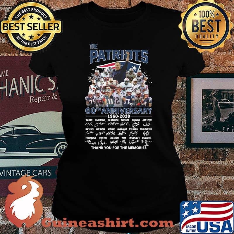 The new england patriots 60th anniversary 1960 2020 thank you for the memories signatures s Laides tee