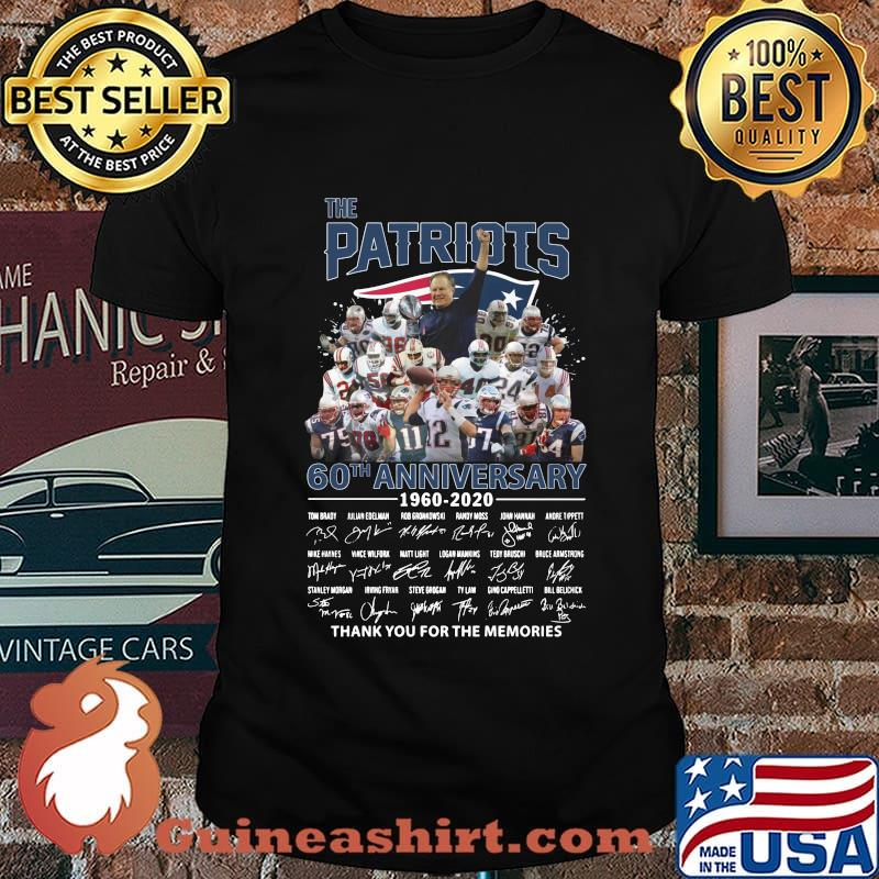 The new england patriots 60th anniversary 1960 2020 thank you for the memories signatures shirt