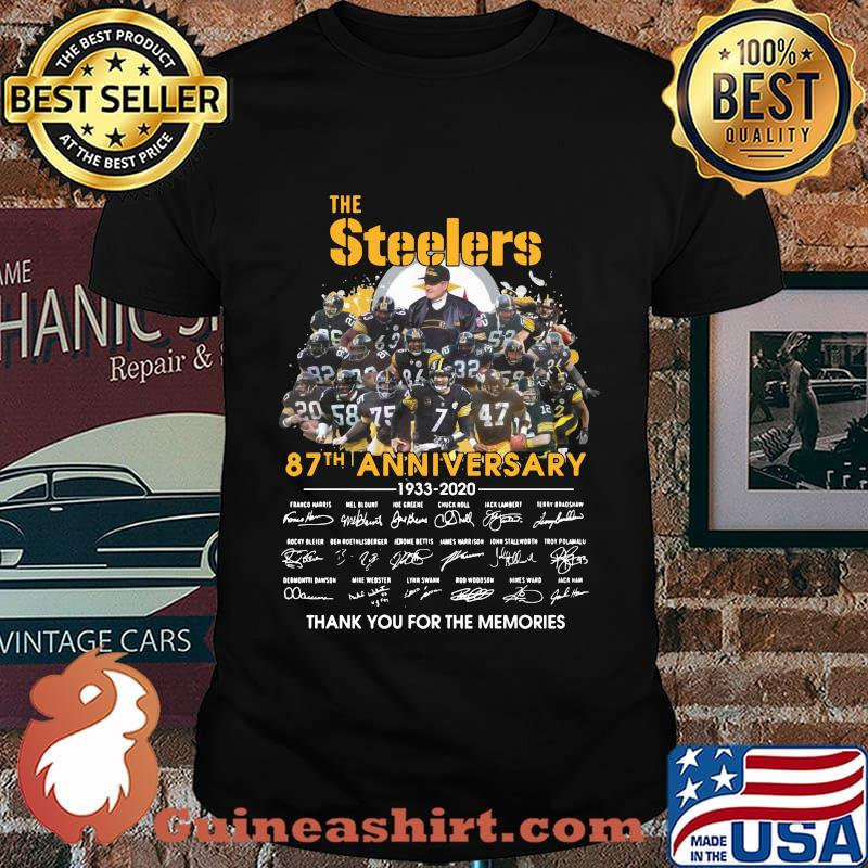 The pittsburgh steelers 87th anniversary 1933 2020 thank you for the memories signatures shirt