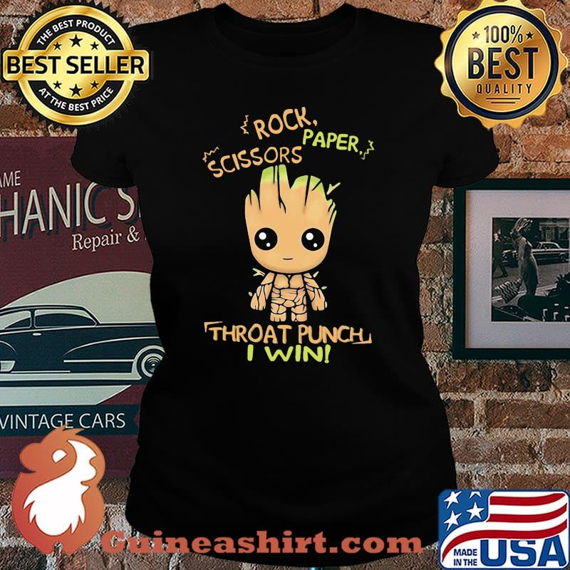 Baby groot rock paper scissors throat punch i win s Laides tee