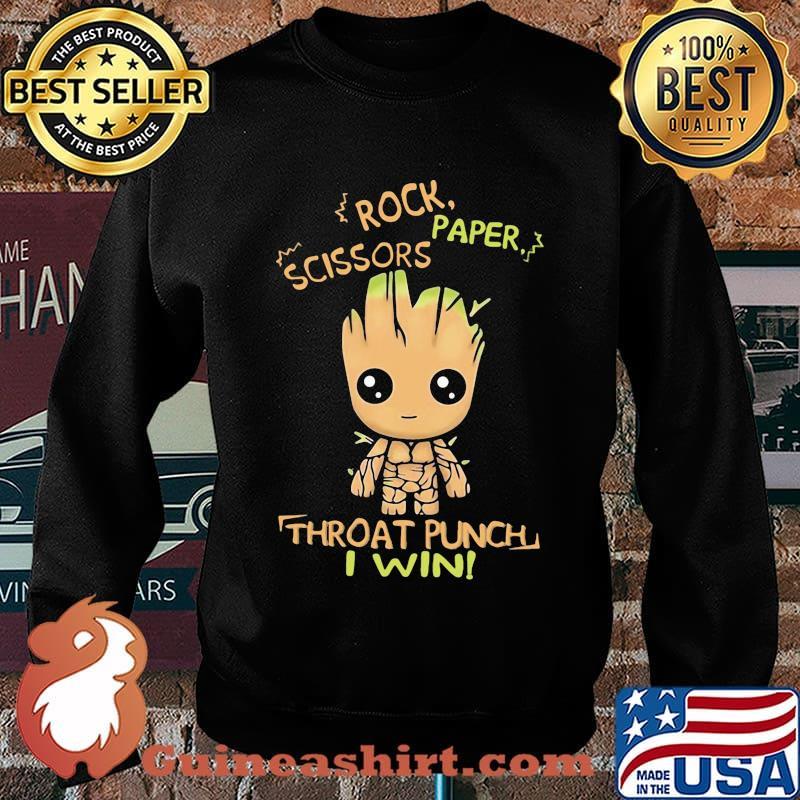 Baby groot rock paper scissors throat punch i win s Sweater