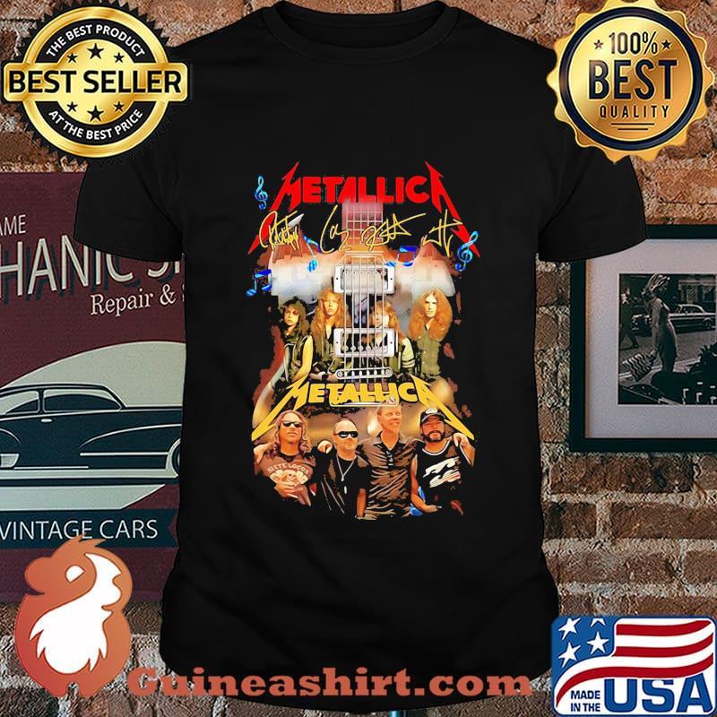 Guitar metallica band members signatures shirt