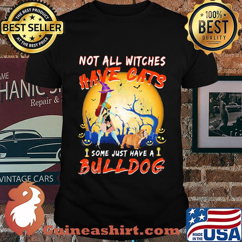 Halloween nightmare not all witches have cats some just have a bulldog shirt
