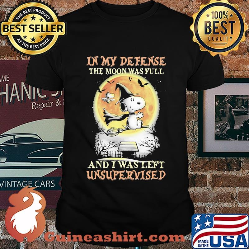 Halloween snoopy and woodstock in my defense the moon was full and i was left unsupervised shirt