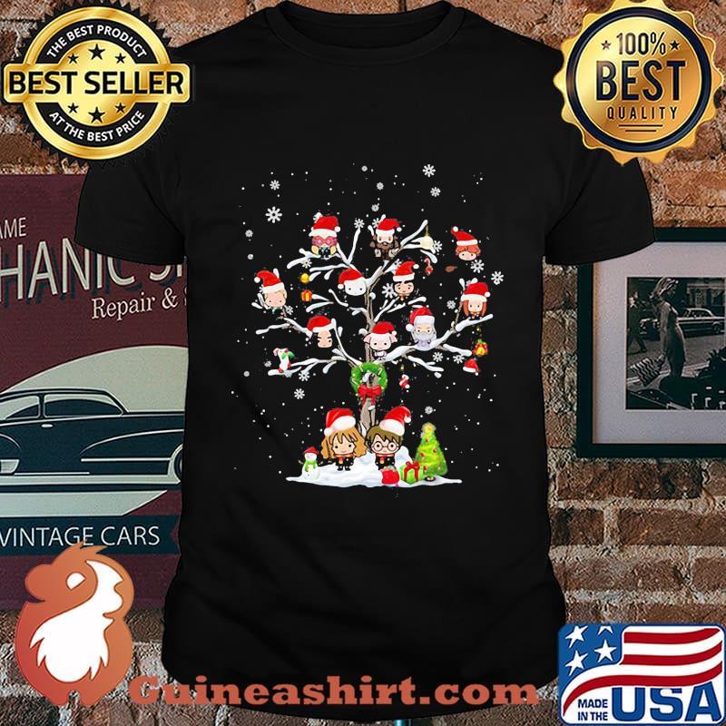 Harry potter characters cartoon christmas tree shirt