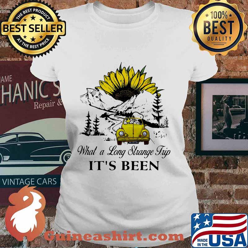 Snoopy and woodstock riding car what a long strange trip it's been sunflower s Ladies tee