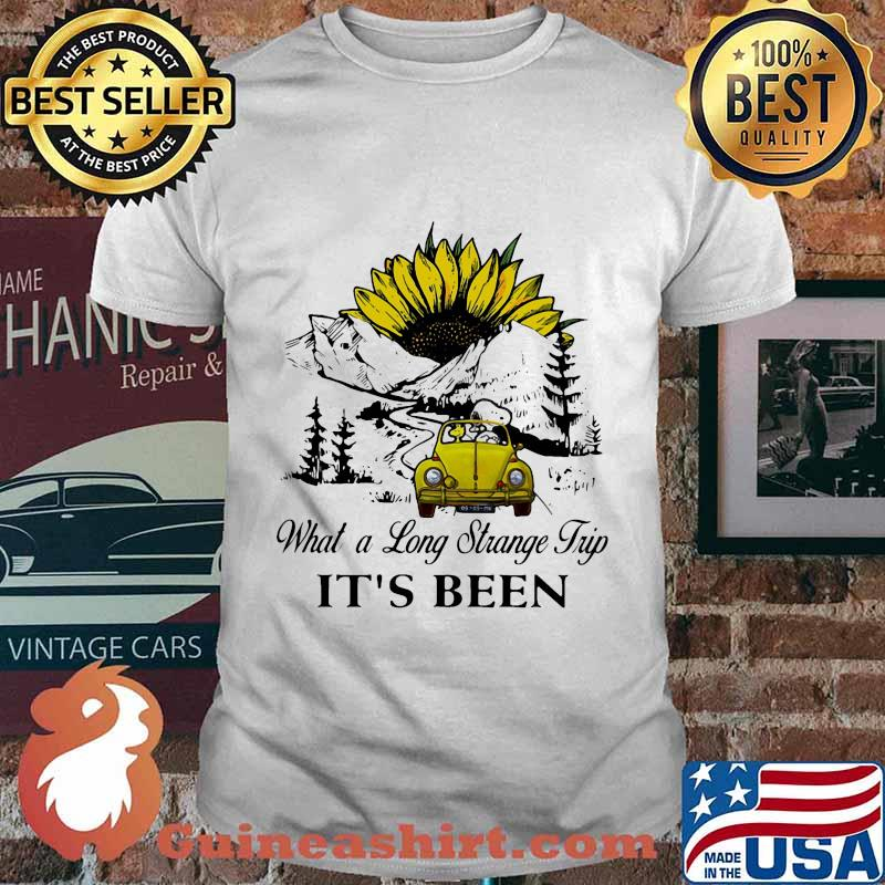 Snoopy and woodstock riding car what a long strange trip it's been sunflower shirt