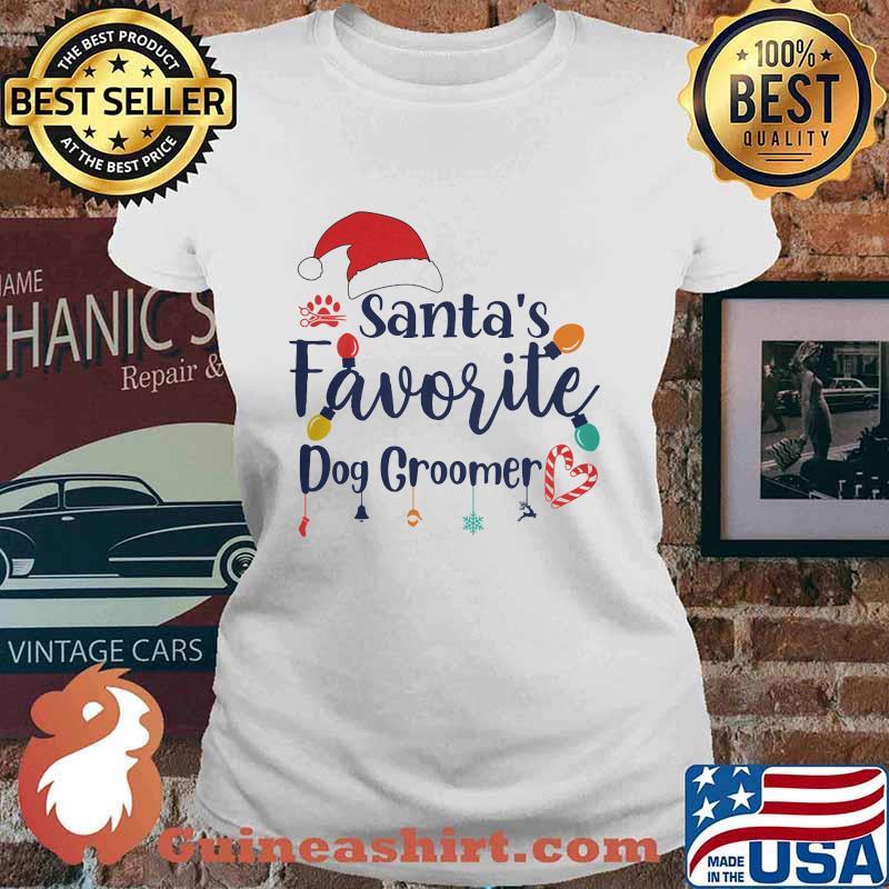 Santa's Favorite Dog Groomer Merry Christmas Shirt Ladies tee