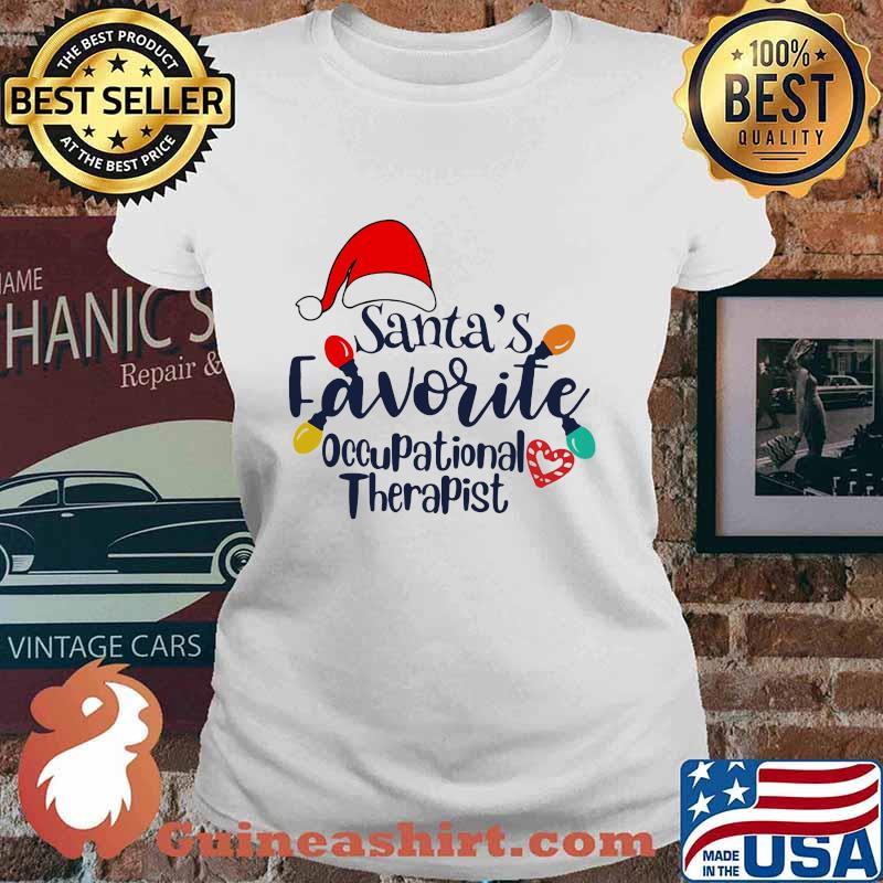 Santa's Favorite Occupational Therapist Merry Xmas Shirt Ladies tee