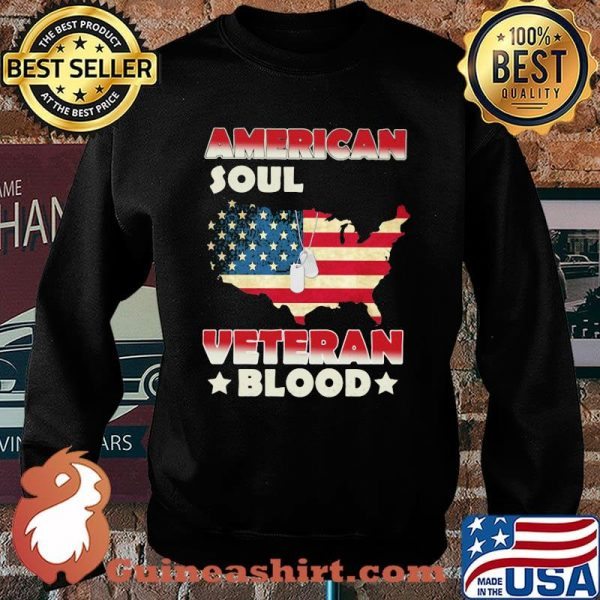 American Soul Veteran Blood American Flag Country Shirt Sweater