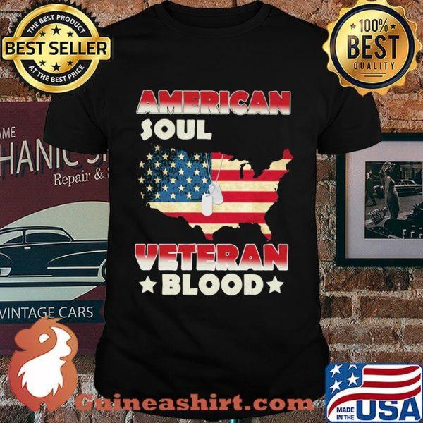 American Soul Veteran Blood American Flag Country Shirt