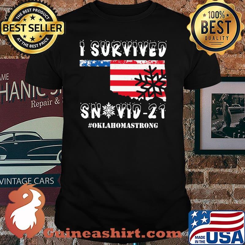 I Survived Snovid 21 Oklahoma Strong American Flag Shirt