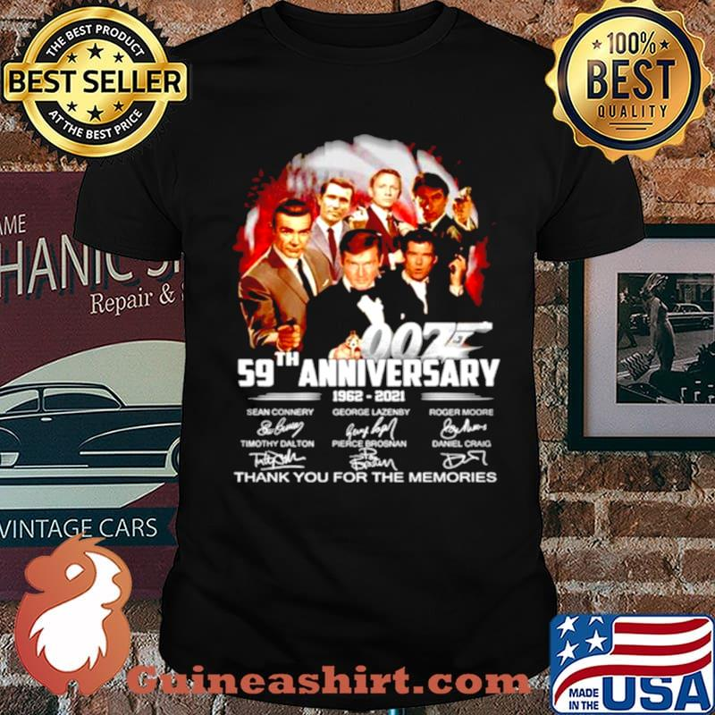 James Bond 007 59th Anniversary 1962 2021 signature thank you for the memories shirt