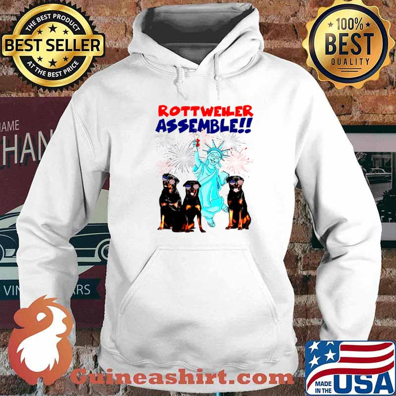 Rottweiler Assemble Happy Independence American Flag Hoodie
