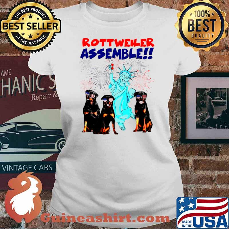 Rottweiler Assemble Happy Independence American Flag Ladies tee