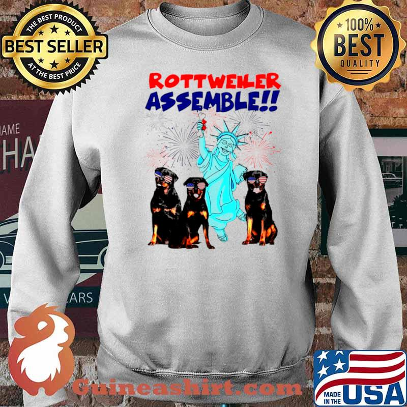 Rottweiler Assemble Happy Independence American Flag Sweater