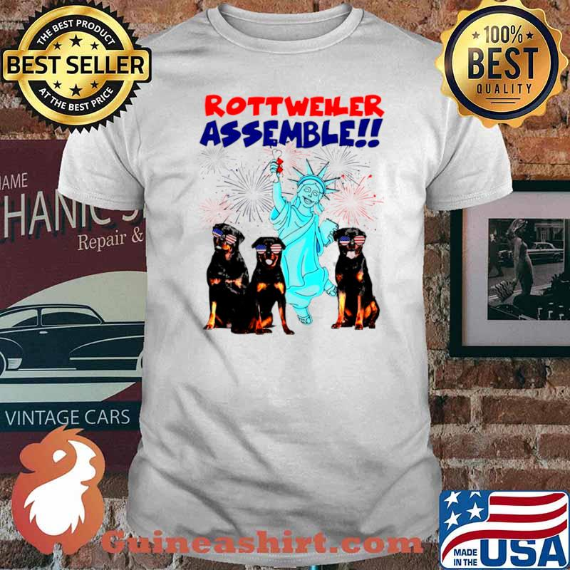 Rottweiler Assemble Happy Independence American Flag shirt