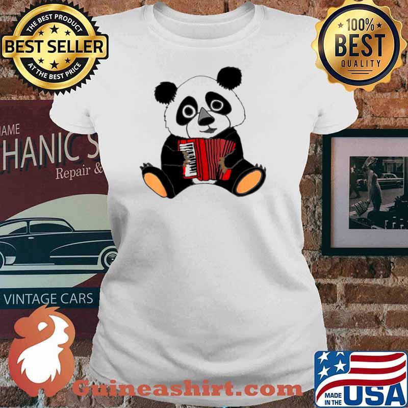 Smilemoreteesa Funny Panda Bear Playing Accordion Ladies tee