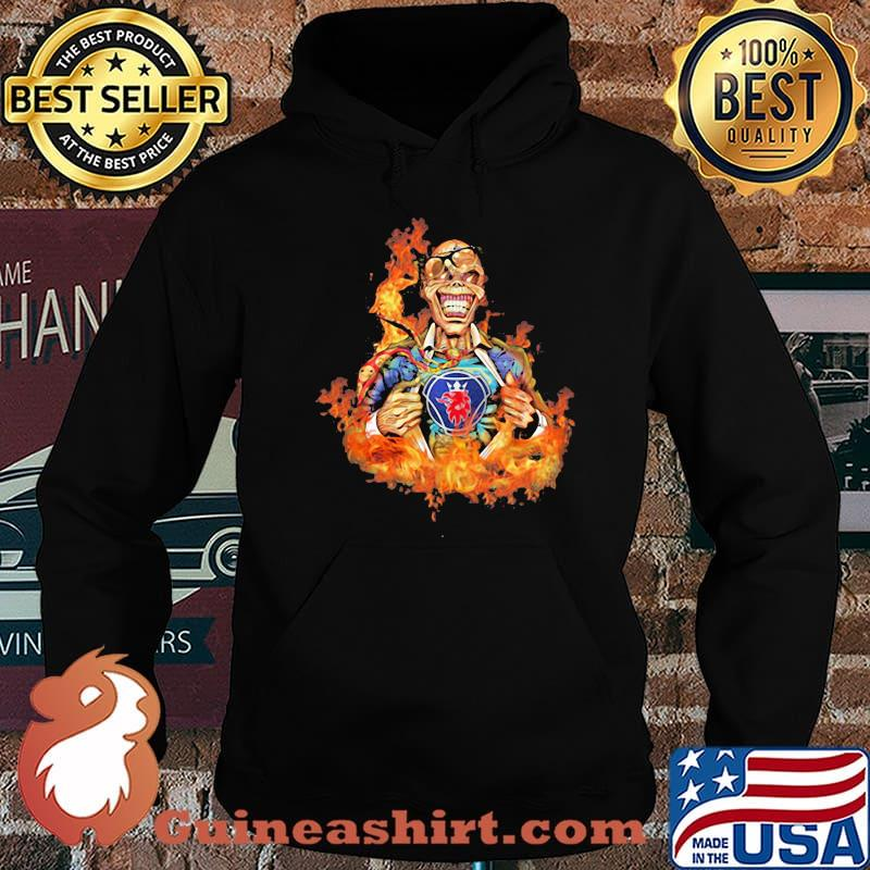 Skull Fire With Scania Logo Shirt Hoodie