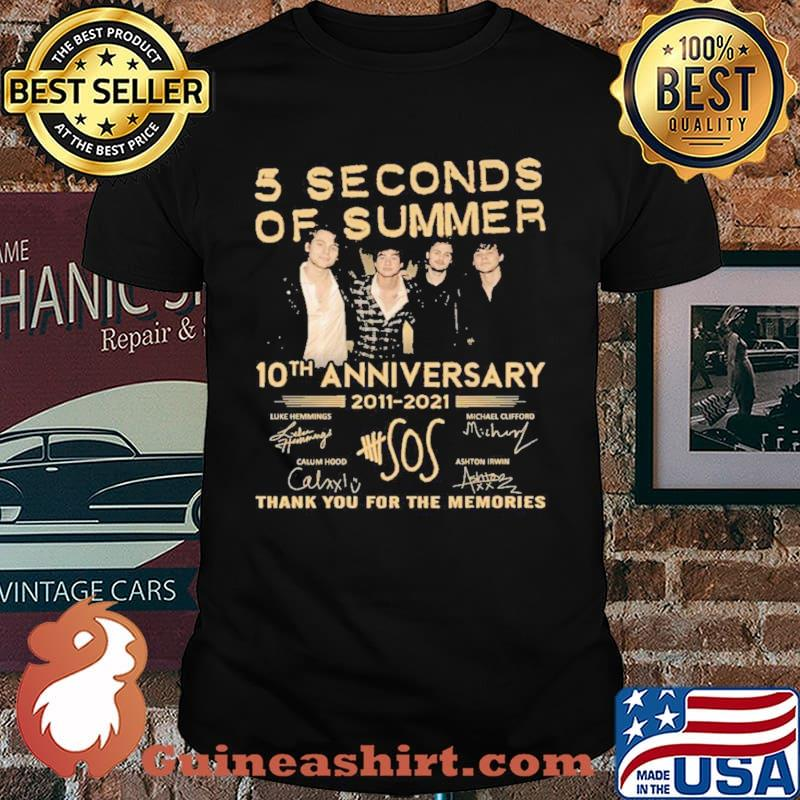 5 seconds of summer 10 th anniversary 2011 2021 thank you for the memories shirt