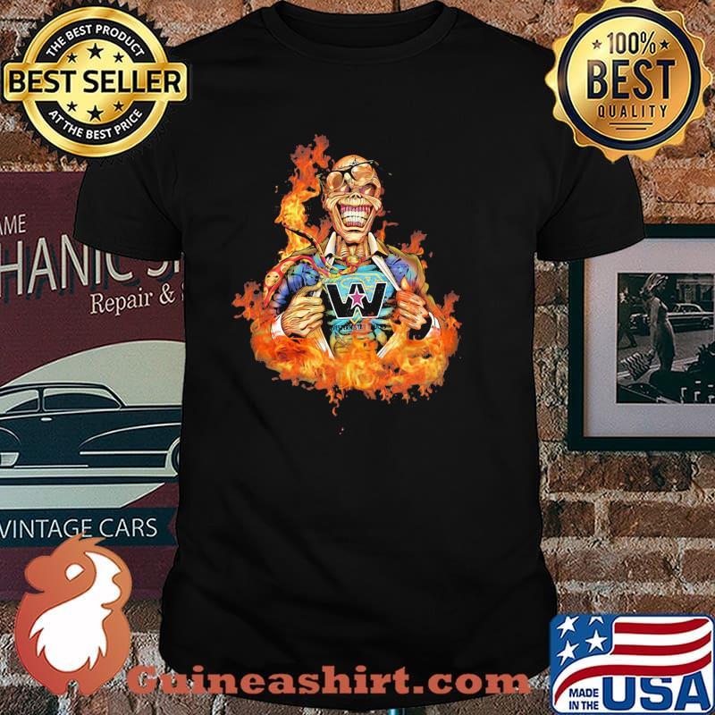 Skull Fire With Western Star Trucks Logo Shirt