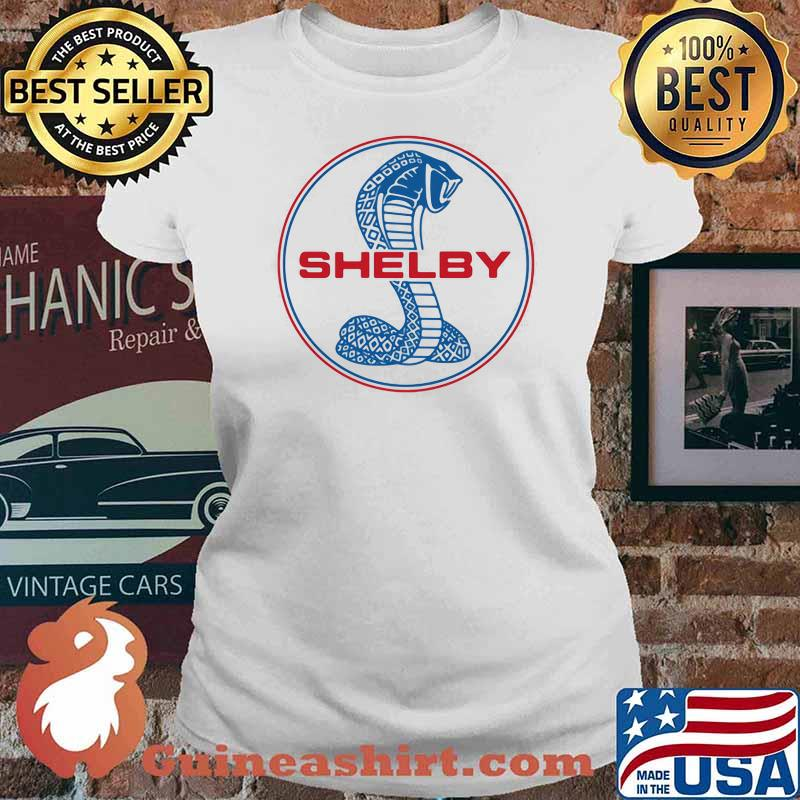 Mustang Shelby Blue And Red Logo Shirt Ladies tee