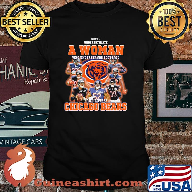 Never Underestimate An Old Man Who Understands Football Chicago Bears Signature Shirt