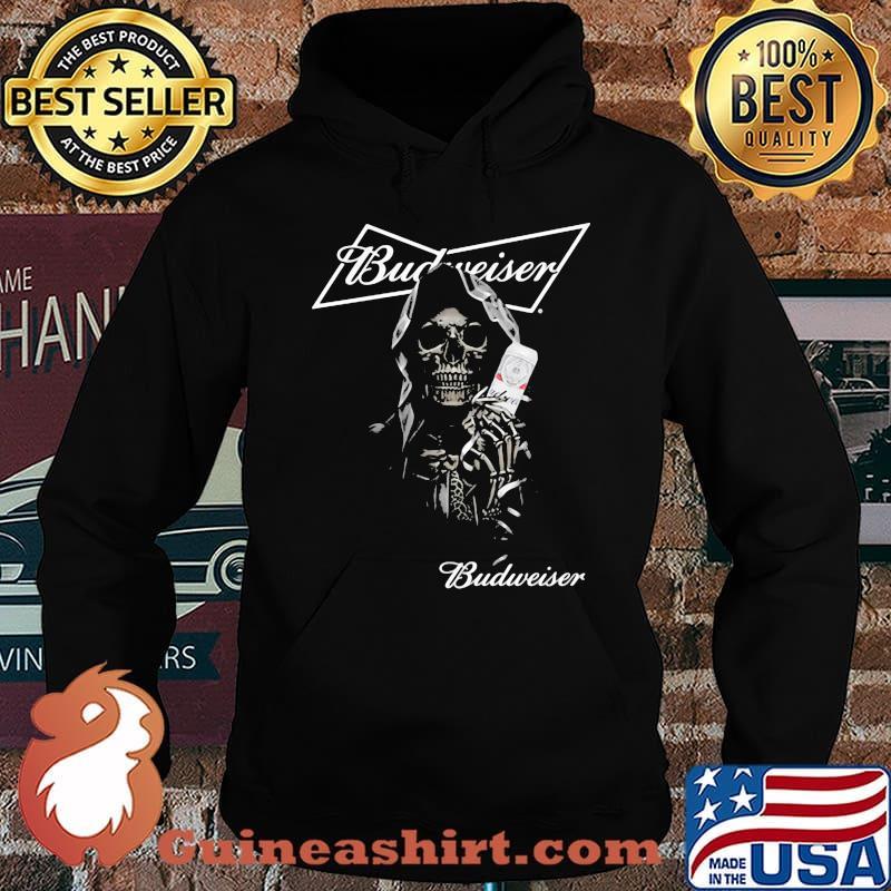 Skull Holding Budweiser Beer Logo Shirt Hoodie