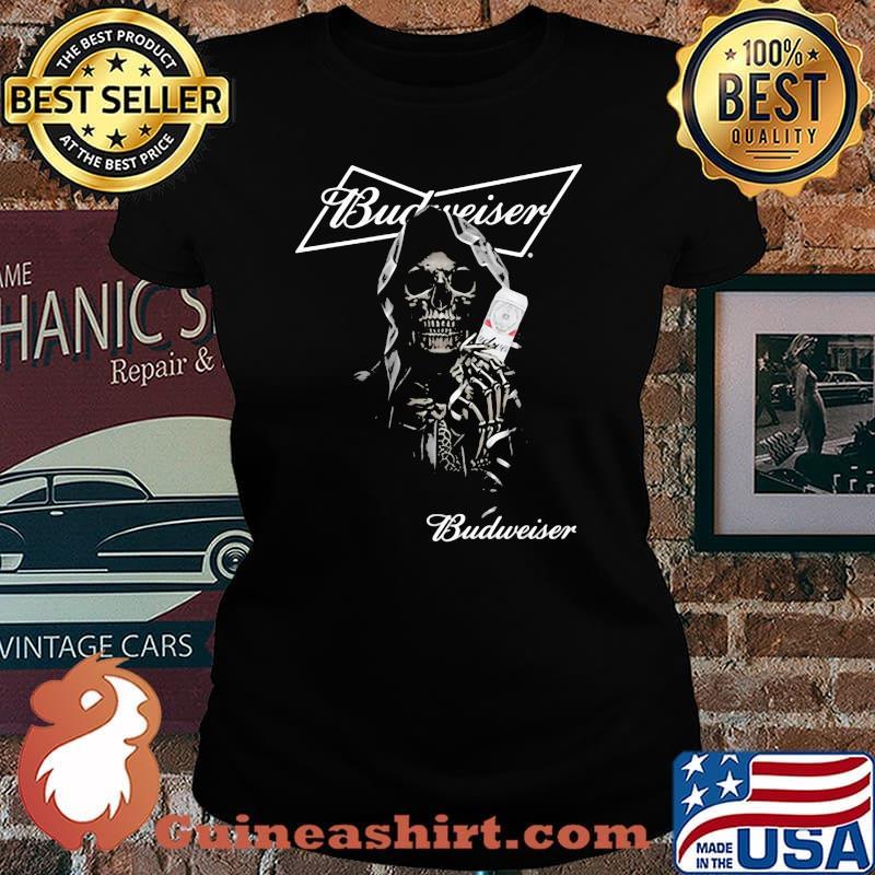 Skull Holding Budweiser Beer Logo Shirt Laides tee
