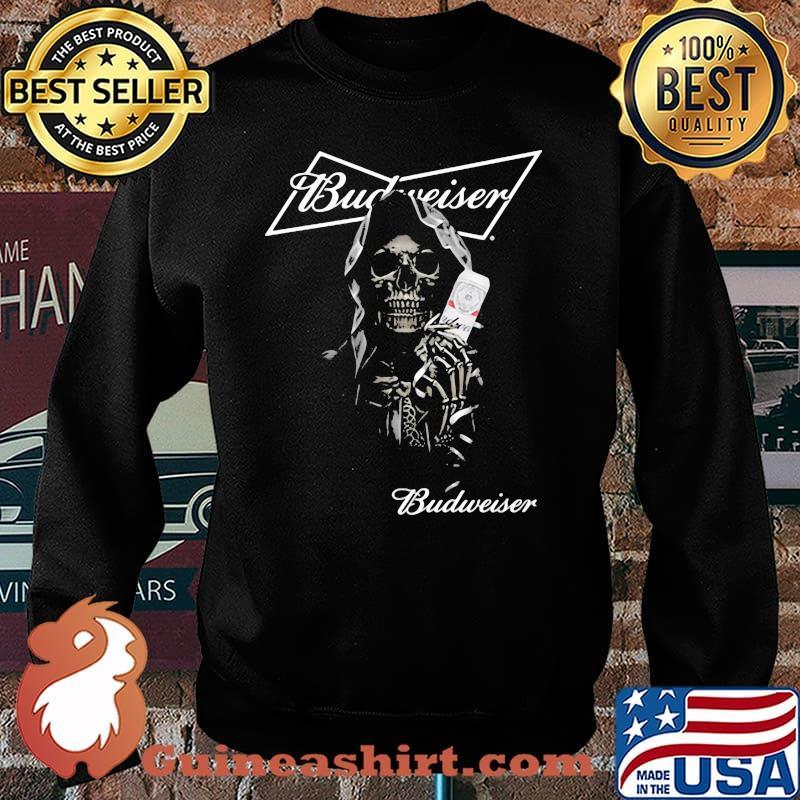 Skull Holding Budweiser Beer Logo Shirt Sweater